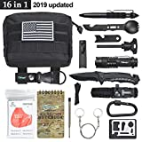 Tianers Emergency Survival Kit 16 in 1, Upgrade Compact Survival Gear, Tactical Survival Tool for Cars, Camping, Hiking, Hunting, Adventure Accessorie (Survival Kit Black)