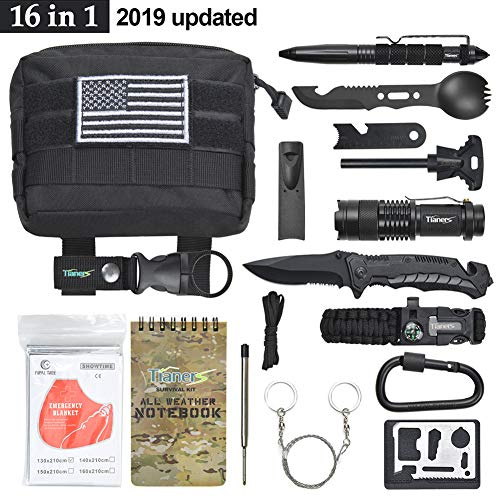 Tianers Gifts for Men Husband Dad Friend, Emergency Survival Kit 16 in 1, Upgrade Compact Survival Gear, Cool EDC Survival Tool for Cars, Camping, Hiking, Hunting, Fishing, Adventure Accessorie