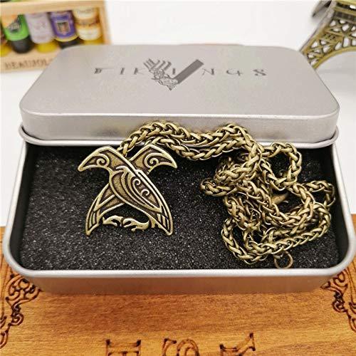 (Raven Bird Pendants Necklace | Women Men Pagan Ethnic Jewelry (Brass Plated))