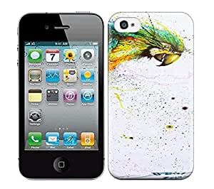 Best Power(Tm) HD Colorful Painted Watercolor Chinese Graffiti Artist And Painter Hua Tunan Creates A Laughing Parrot Out Of Splatters Hard Phone Case For Iphone 4/4S