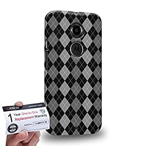 Case88 [Motorola Moto X (2nd Gen)] 3D impresa Carcasa/Funda dura para & Tarjeta de garantía - Art Trend Mix Design Argyle Grey & Black Combination