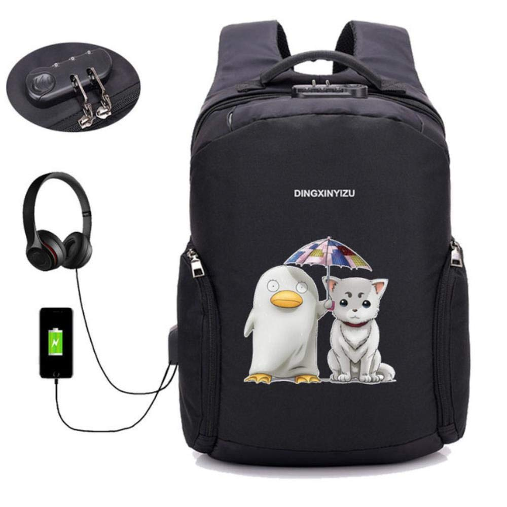 A20 GuiSoHn AntiTheft USB Charging Backpack Japan Anime Gintama Daypack Student School Bag Teenagers Laptop Travel Rucksack