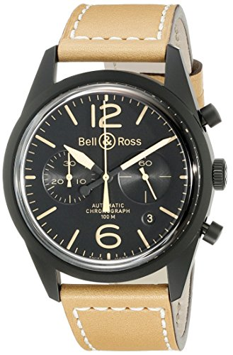 Bell-Ross-Mens-BR126-HERITAGE-Vintage-Black-Chronograph-Dial-Watch-with-Brown-Strap