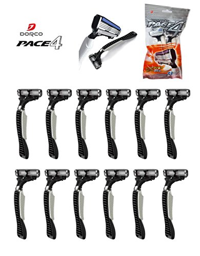 3 Pack 12 pieces Dorco Pace4 Disposable Razors