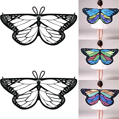 HHei_K Kids Girls Creative DIY Dress up Party Costume Self-Coloring Butterfly Cape Wings Angel Wings Chiffon -