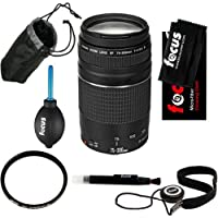 Canon EF 75-300mm f/4-5.6 III USM Telephoto Zoom Lens for Canon SLR Cameras + Tiffen 58mm UV Protector + Lens Pouch + Kit