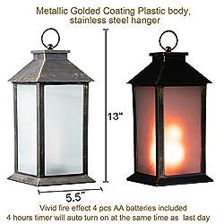 "13"" Vintage Style Decorative Lantern,Flickeri"