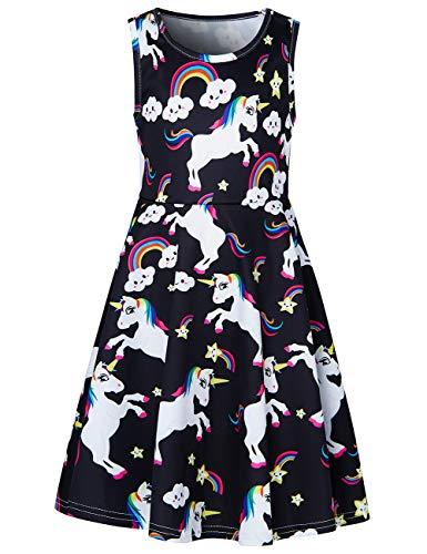 - RAISEVERN Little Girl's Unicorn Dress Sleeveless Sundress Cute Round Neck Rainbow Dresses Summer Holiday Beachwear for Child 6-7T