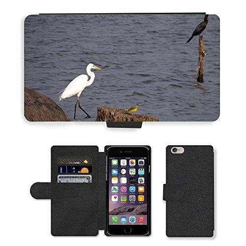 "Just Phone Cases PU Leather Flip Custodia Protettiva Case Cover per // M00128100 Grande Aigrette Ardea Alba Grande // Apple iPhone 6 PLUS 5.5"""