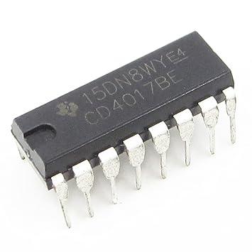 2 x CD4017BE CD4017 DIP 16 THT circuito integrado CMOS Counter Divider: Amazon.es: Electrónica