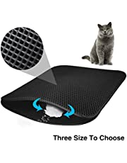 Cat Litter Mat EVA Double-Layer Cat Litter Trapper Mats with Waterproof Bottom Layer,Black (M-60cm x 46cm)