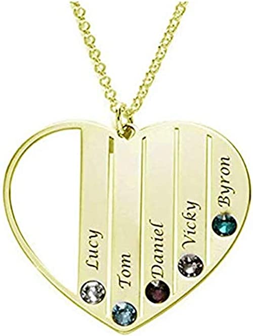 Personalised Photo /& Text Engraved Large Heart Necklace With Birth Stone