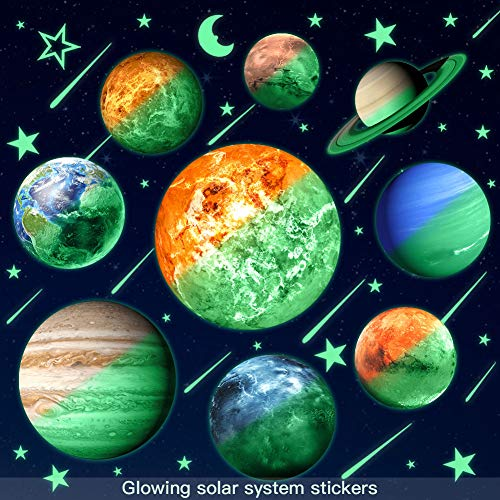 Glow in The Dark Stars and Planets for Ceiling, Bright Solar System Star Stickers Glowing Space Wall Decals for Kids Bedroom Living Room Decoration