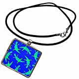 3dRose Janna Salak Designs Woodland Creatures - Cute Lizard Print Blue Green - Necklace With Rectangle Pendant (ncl_28490_1)