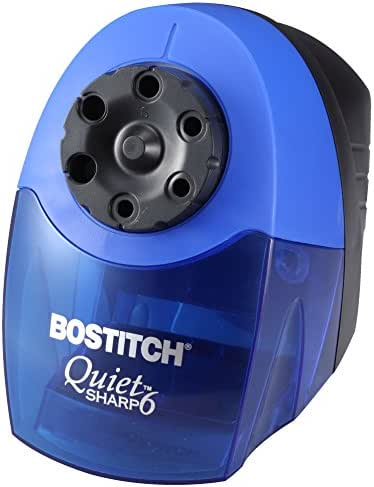 Bostitch QuietSharp 6 Heavy Duty Classroom Electric Pencil Sharpener, 6-Holes, Blue (EPS10HC)