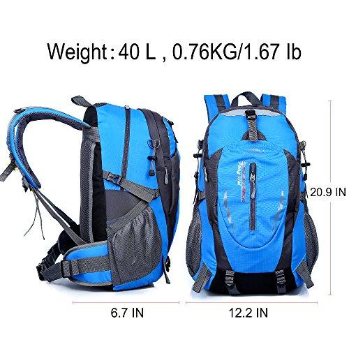 AOKE Outdoor backpack, waterproof hiking pack, camping travel luggage trekking backpack 40L BLAU Blau