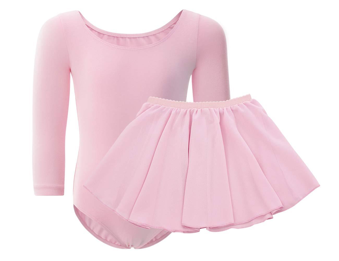 WEGETIT Gymnastics Leotards for Girls Toddler Ballet Long Sleeve Dance Tutu