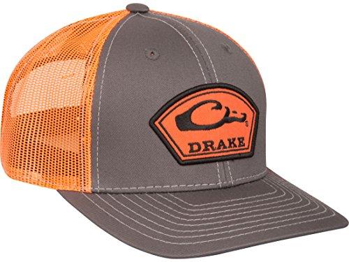 Drake Men's Logo Arch Patch Mesh Back Cap Polyester Charcoal/Orange (Arch Logo Cap)