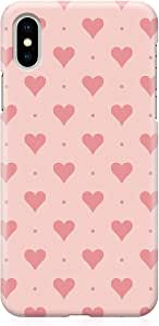 جراب Loud Universe لهاتف iPhone XS ملفوف حول الحواف بنمط قلب وردي منقط ومتين مطبوع عليه حواف جديدة لهاتف iPhone XS