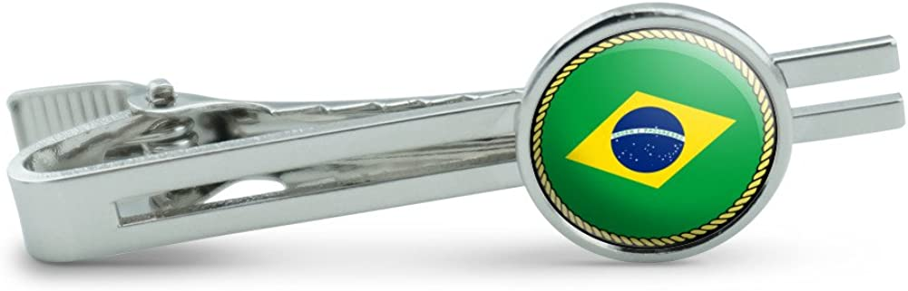 Made On Terra Flag of Brazil Men's Tie Clip Tack Bar