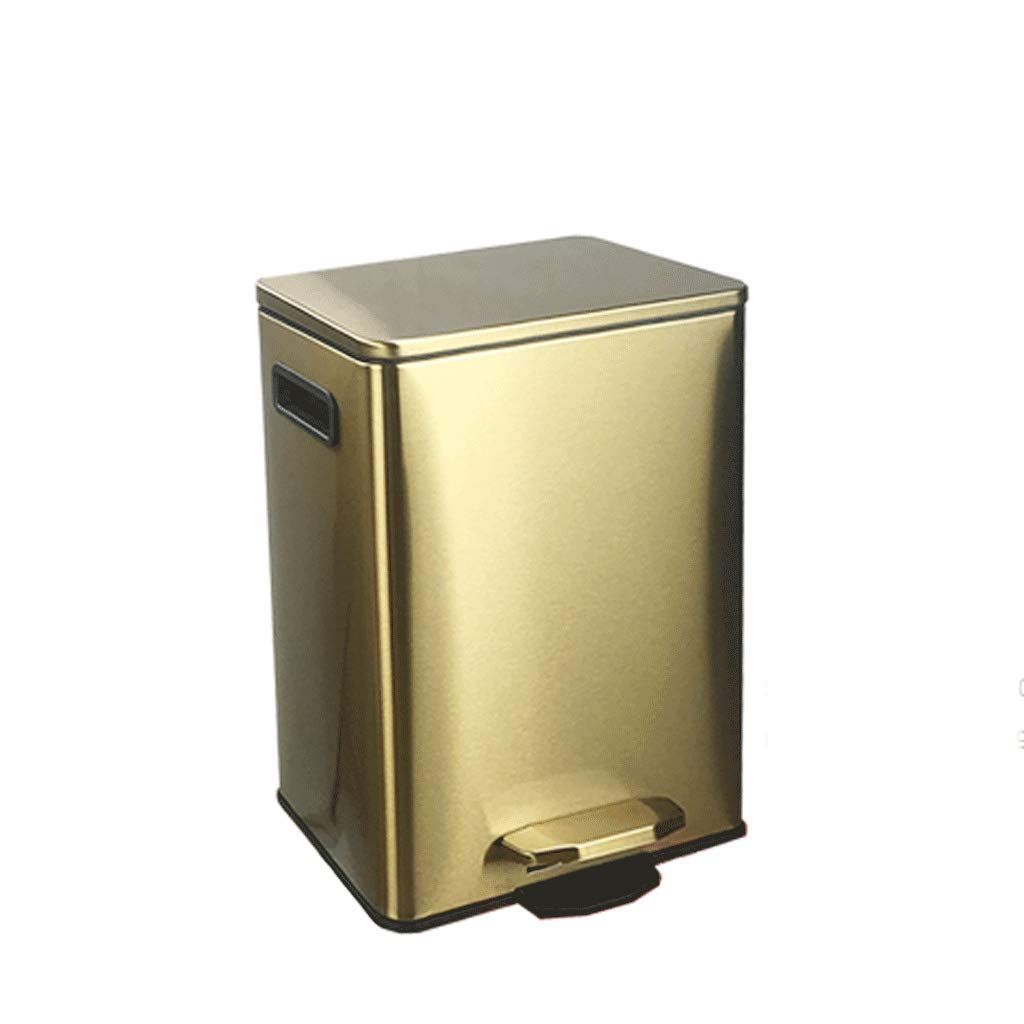 LINGZHIGAN クリエイティブスクエアペダルステンレスゴミ箱は、カバー付きの家庭のバスルームのリビングルームのベッドルームキッチンビン缶 B07KVYY6KY