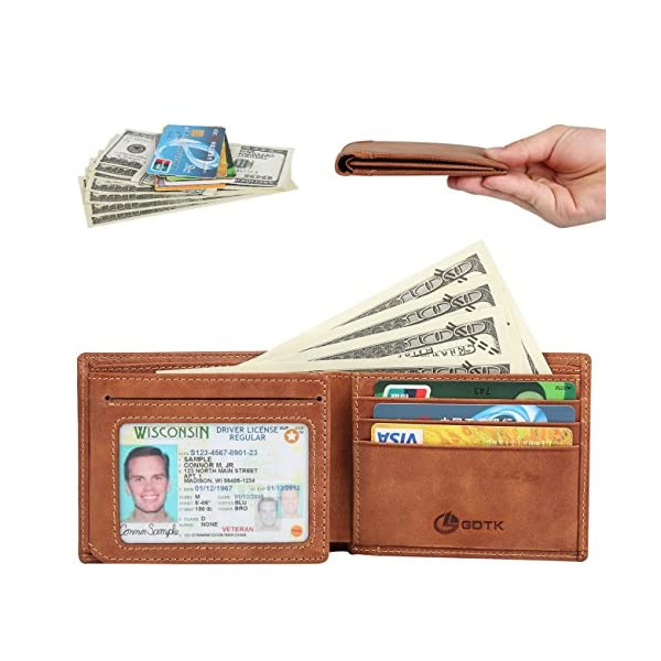 Men's Wallet - RFID Blocking Cowhide Leather Vintage Trifold Wallet
