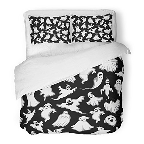 SanChic Duvet Cover Set Spooky Ghost Halloween Holiday Horror Night Monster Decorative Bedding Set with Pillow Case Twin Size ()