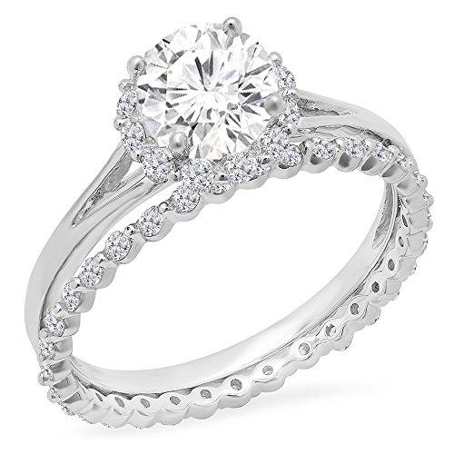 DazzlingRock Collection 14K Gold Round Moissanite & White Diamond Halo Style Bridal Engagement Ring With Matching Band Set
