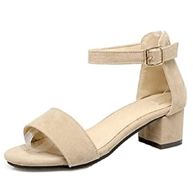 35b2e1b88 Easemax Women s Elegant Faux Suede Zip Up Mid Chunky Heel Open Toe Ankle  Buckle Strap Sandals