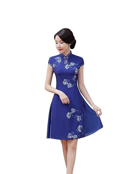 c34579628 ACVIP Women's Flower Print Chinese Traditional Cheongsam Dresses Ladies  Short Qipao Dress (UK6 / Tag