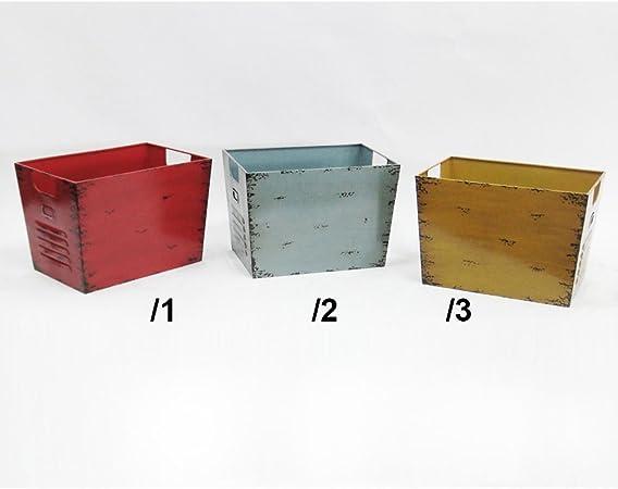 Caja 37 x 26 cm Chapa Caja Vintage Chapa cesta caja metal: Amazon.es: Hogar