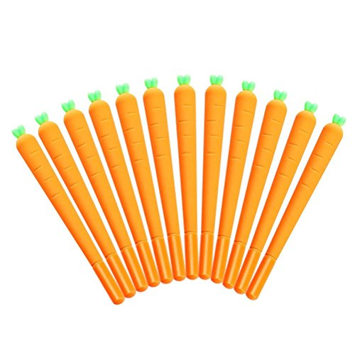 WIN-MARKET Cute Novelty Lovely Cartoon Vegetable Carota Carrot Roller ball Pen funny School Stationery Office Supply Gifts (12pcs)