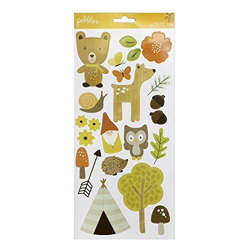 American Crafts Pebbles 50 Piece Pebbles Woodland Forest 6 x 12