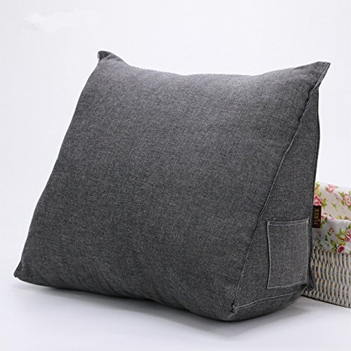 Ultra Comfortable Lumbar Pillow Bed Rest Stuffed Cushion Pillows Back Support Cushions for Car Sofa Chair Removable Cotton Cover (L (55x45x25cm), Dark Grey) (Extra Large Pillow)