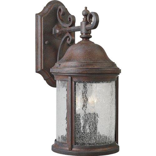 Collection Cobblestone Three Light Fixture - Progress Lighting P5649-33 2-Light Cast Aluminum Wall Lantern with Water-Seeded Glass, Cobblestone