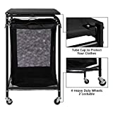HollyHOME 3-Bags Laundry Sorter Cart with Foldable