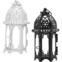 HOMYL 2pcs Clear Glass Moroccan Style Candle Lantern Tealight Candle Holder Candlestick for Wedding Party Decor