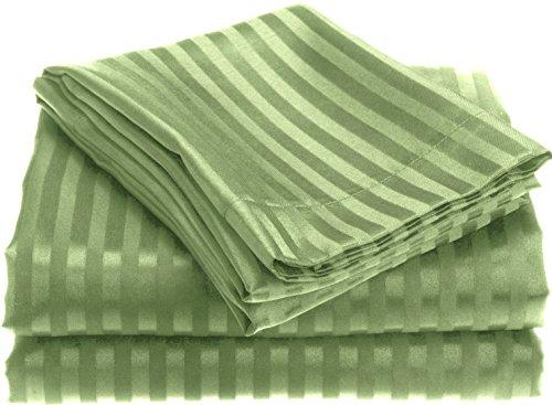 Price comparison product image 1800 Series Wrinckle Resistant 4 Piece King Size Embossed Stripe Sheet Set - Sage