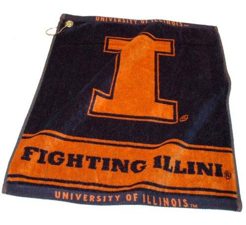 "Team Golf NCAA Illinois Fighting Illini Jacquard Woven Golf Towel, 16"" x 19"", 100% Cotton, Attach to Golf Bag with Corner Hook"