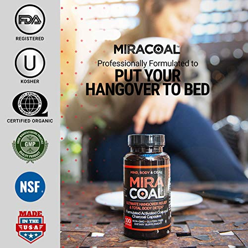 Miracoal Hangover Prevention with Organic Activated Coconut Charcoal | Detox and Relief (100 Capsules) for Alcohol Recovery | A Gluten Free Dietary Supplement with Electrolytes by Miracoal (Image #3)