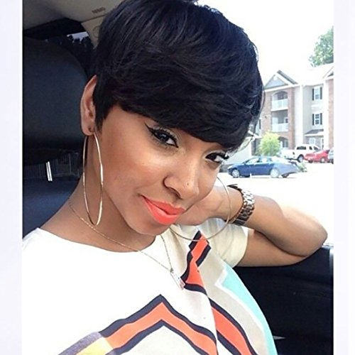 Search : DIFEI Black Short Wigs For Women Natural Black Straight Hair American African Wig Heat Resistant Synthetic Wig