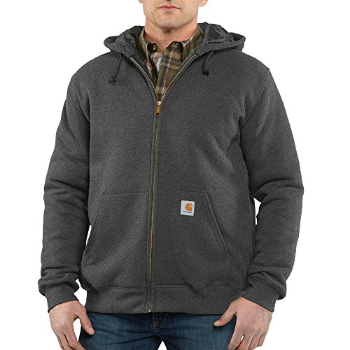 Carhartt Men's Rain Defender Avondale Midweight 3 Season Sweatshirt, Charcoal Heather, X-Large (Quilted Lining)