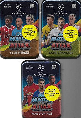 Edition Insert (2017 2018 Topps 3 Tin Gift Lot of UEFA Champions League Match Attax Card Game MEGA Collector Tins with 180 Cards including 3 Bonus Gold Limited Edition Cards and 45 Exclusive Inserts)