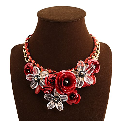 Red Transparent Necklace (truecharms Women's Rose Necklaces Pendants Transparent Big Resin Crystal Flower Choker Statement Necklace (Red))
