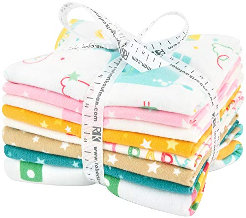 Lucy Belfield Welcome Baby Flannel Multi 7 Fat Quarters 1 Panel Robert Kaufman Fabrics FQ-1423-8 ()