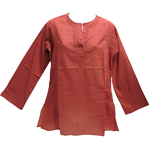 mbroidered Sixties Long Sleeve Indian Cotton Kurti Tunic Blouse Top (Wine) (Arizona Embroidered Long Sleeve)