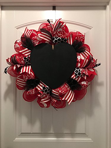 Valentine's Day Wreath with chalkboard heart, Ready to Ship