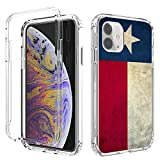 iPhone 11 Case,Amook Shockproof Hybrid Hard PC & Soft TPU Bumper Cover Clear with Design Dual Layer Protective Case for Apple iPhone 11 6.1 Inch 2019-Transparent/Vintage Wood Texas Flag
