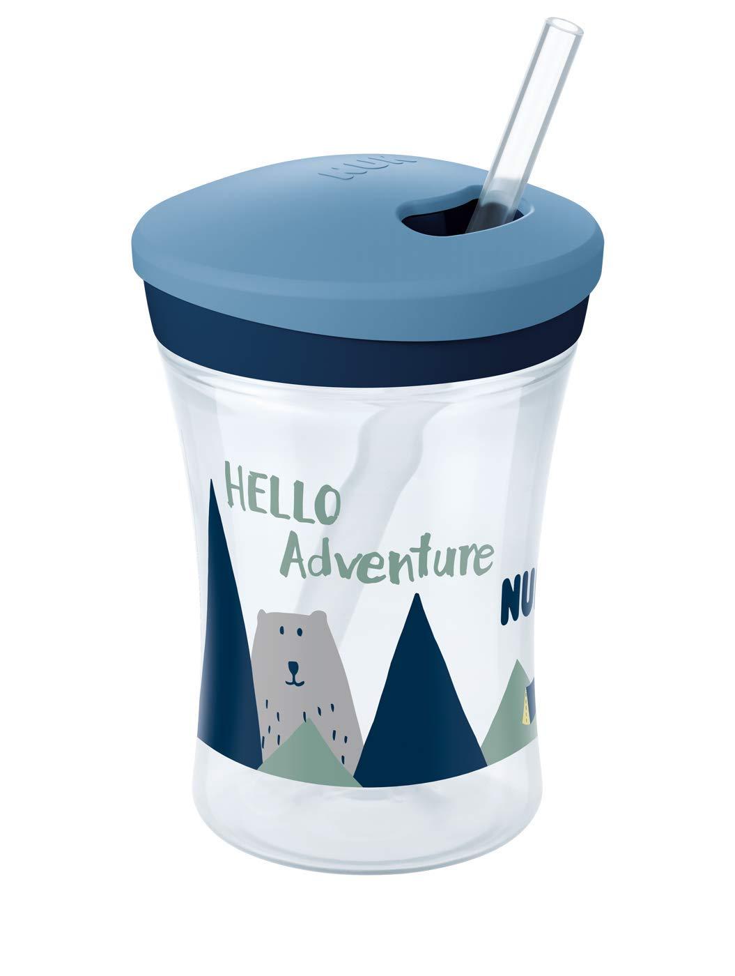Boy BPA frei weicher Trinkhalm auslaufsicher NUK 10255513 Hello Adventure Action Cup 230ml ab 12 Monaten blau