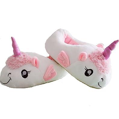DecoBay Unicornio Zapatillas de Felpa Zapatillas Zapatos Para Niños / Adultos (Blanco)